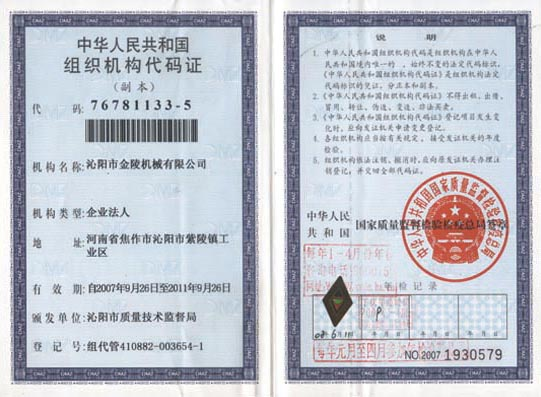 Institution Code Certificate